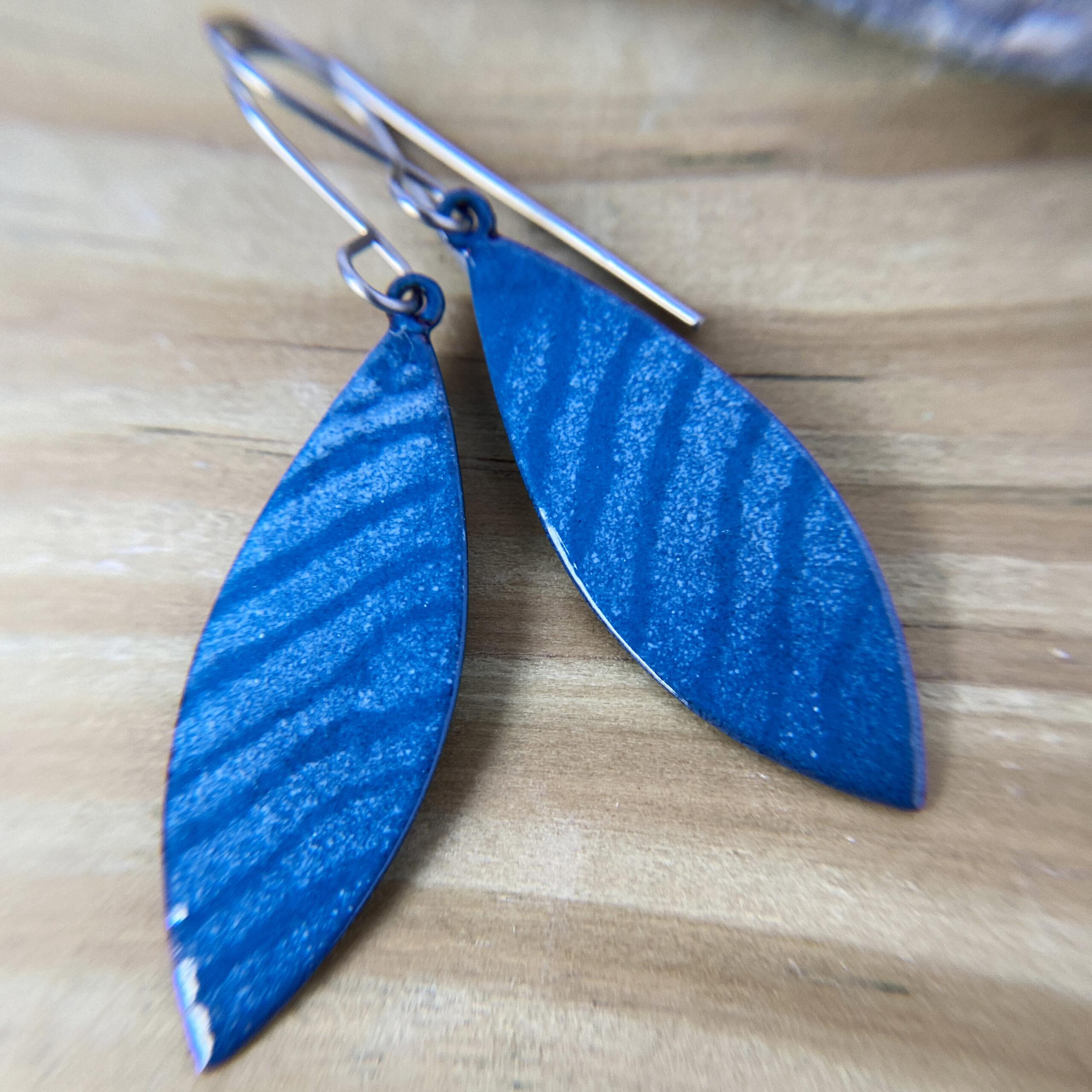 blue enamel wave earrings
