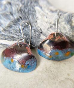 aqua blue copper shell earrings rustic enamel clam shell
