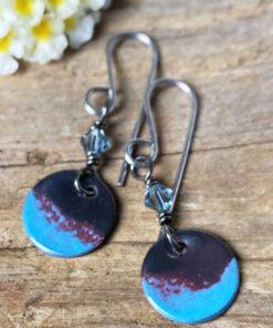 enameled copper blue rround dangle swarovski crystal earrings