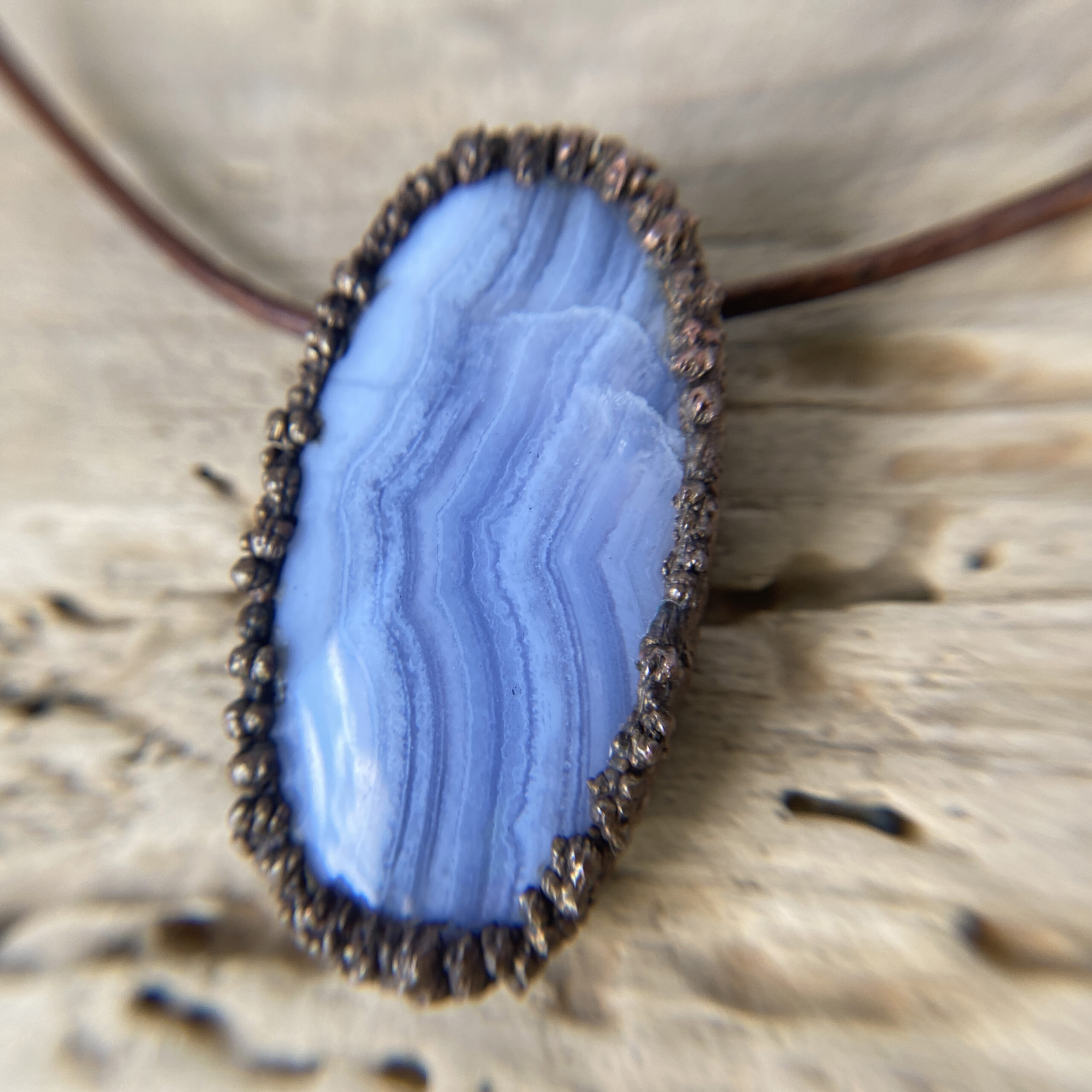 blue lace agate electroformed copper necklace