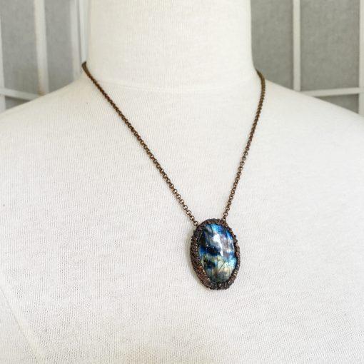 Labradorite pendant - electroformed copper setting