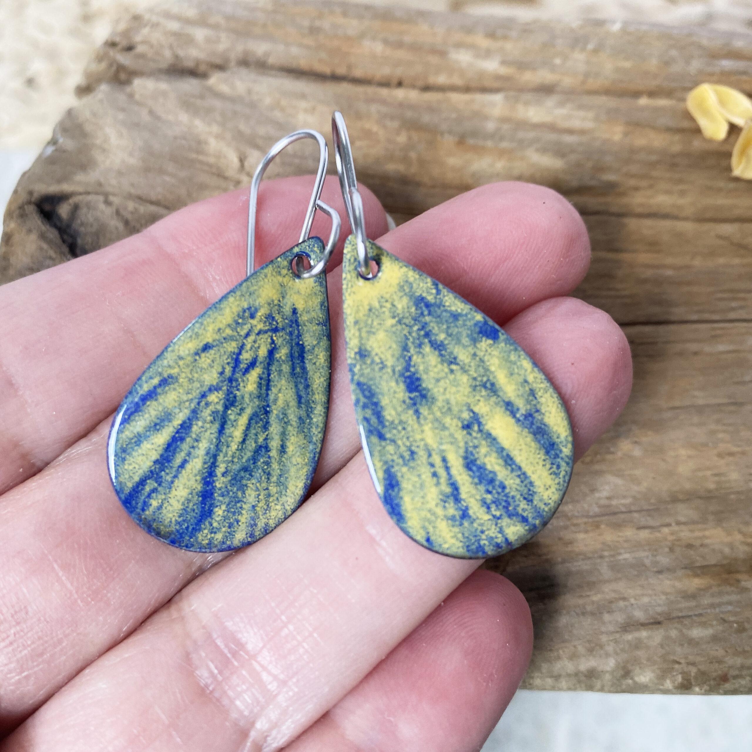 hazy blue yellow enamel oval dangle earrings
