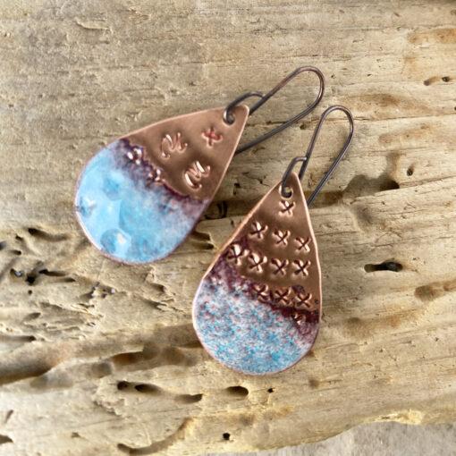 textured copper blue oval enamel earrings