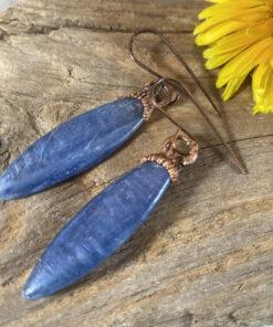 blue kyanite electroformed copper earrings