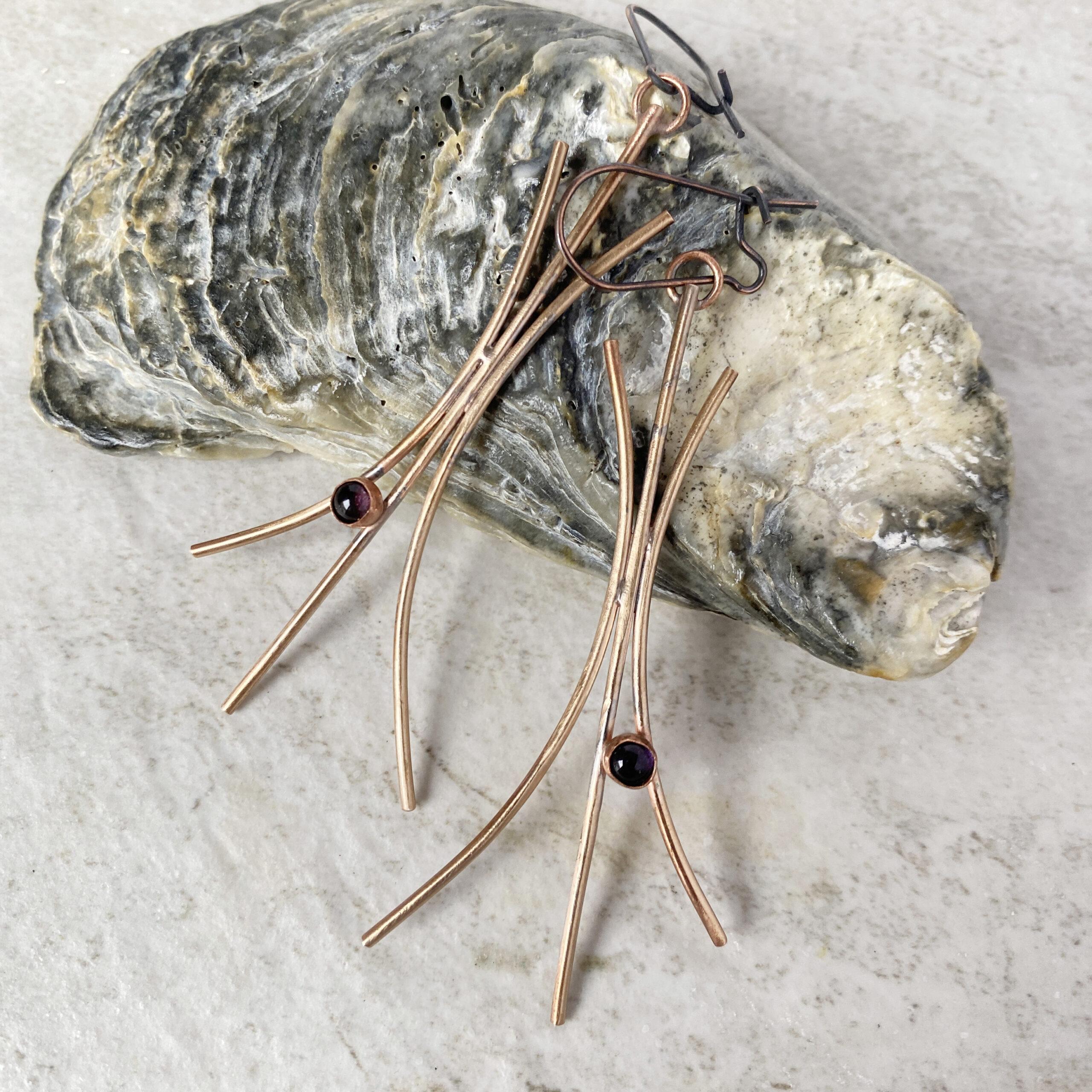 bronze iolite dangle earrings