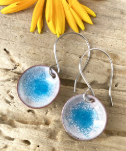 blue enamel circle earrings