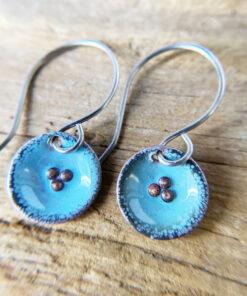 small aqua blue enamel round pod earrings