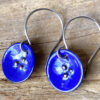 blue enamel circular earrings round drop earrings