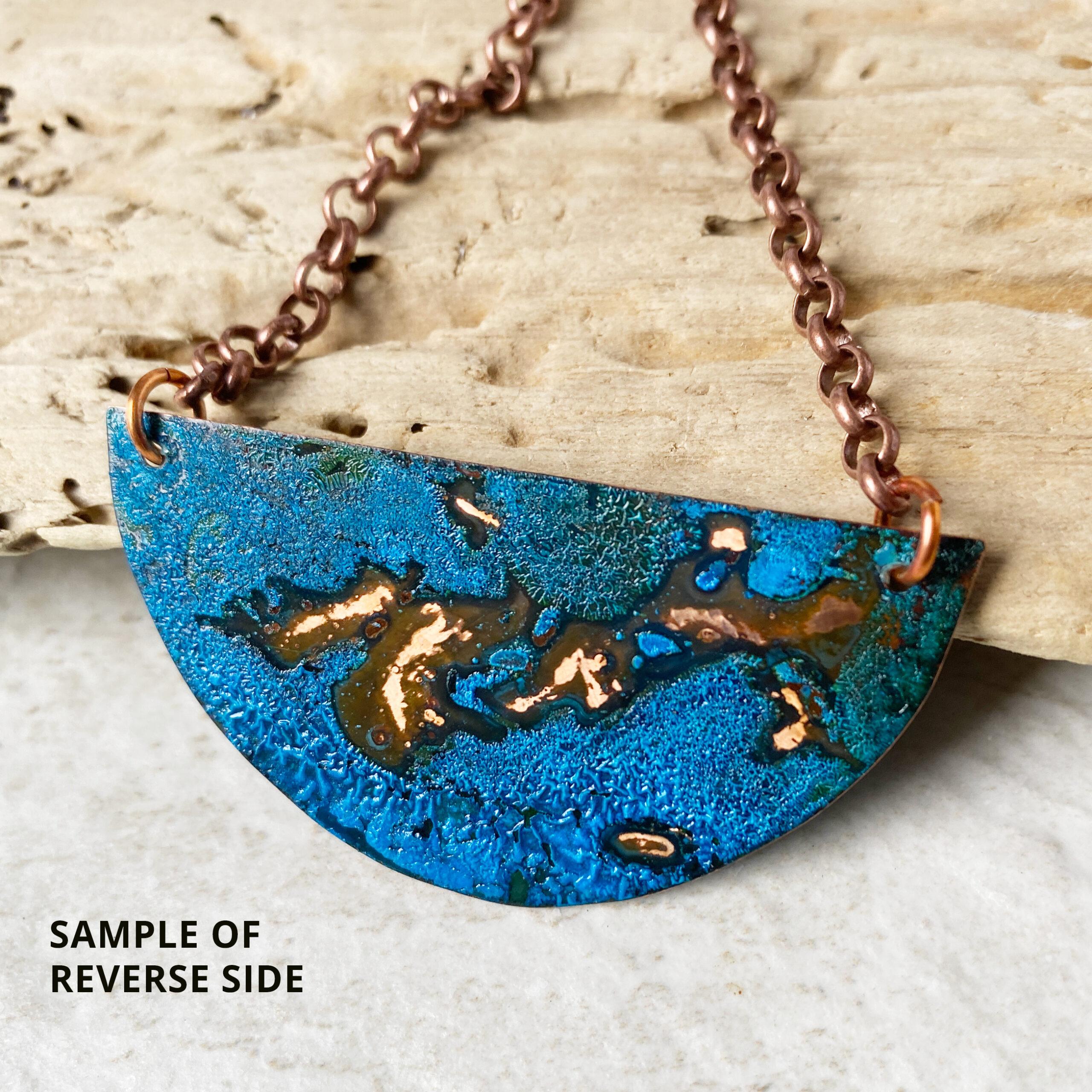 copper patina halfcircle necklace